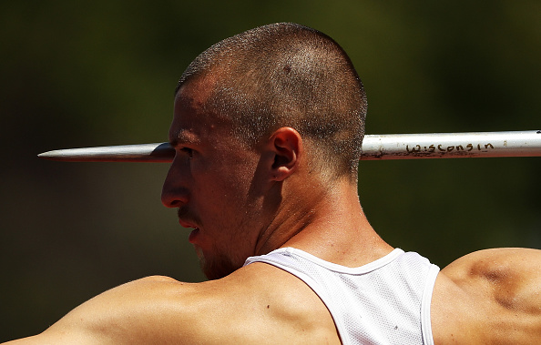 Zach Ziemek during the decathlon javelin throw // Getty Images