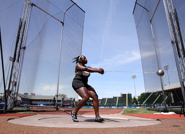 Women's hammer champ Amber Campbell at the Trials // Getty Images