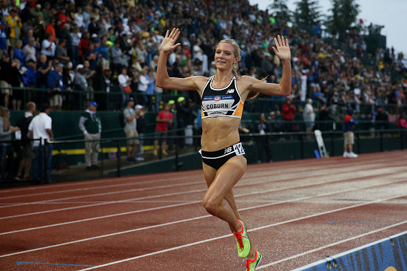 Emma Coburn crossing the line in the steeplechase // Getty Images