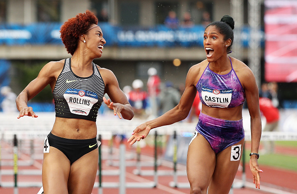 Brianna Rollins, left, and Kristi Castlin in the instant after crossing the line in the 100 hurdles final at Hayward Field // Getty Images