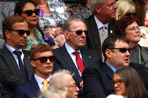 Jacques Rogge, the IOC president from 2001 until 2013, and his wife, Anne, at the 2016 Wimbledon women's final // Getty Images