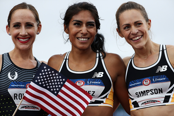 Left to right: Shannon Rowbury, Brenda Martinez, Jenny Simpson after the 1500 // Getty Images