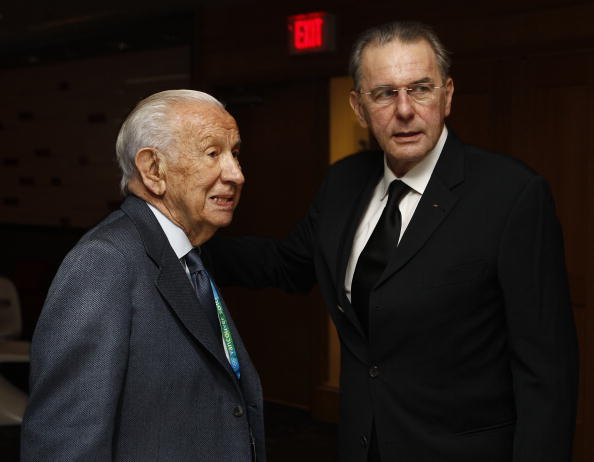 Juan Antonio Samaranch, IOC president 1980-2001, with Rogge at the 2010 Vancouver Winter Games // Getty Image
