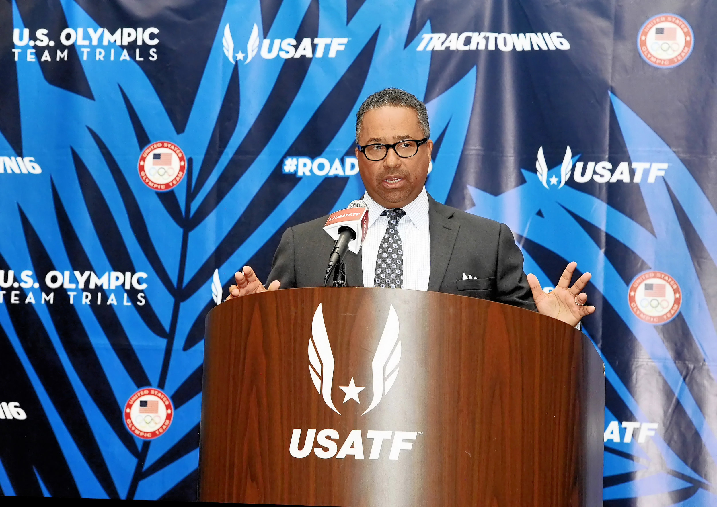 Max Siegel, USATF chief executive, at Tuesday's news conference // Errol Anderson