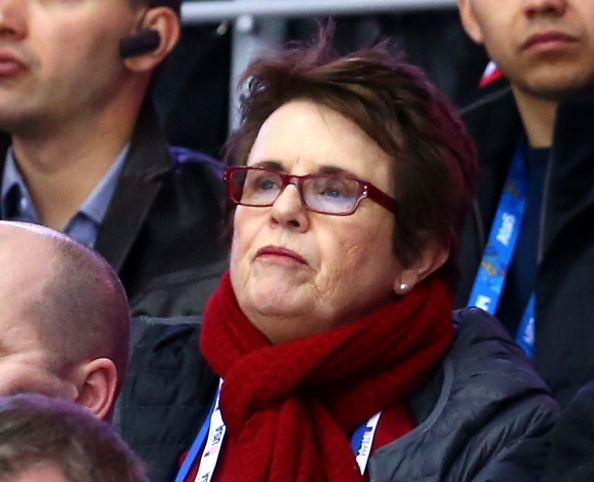The tennis star Billie Jean King at the Sochi 2014 men's ice-hockey bronze medal game //