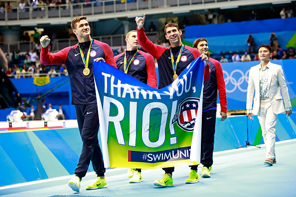From left, Nathan Adrian, Ryan Murphy, Michael Phelps, Cody Miller after the medley relay // Getty Images