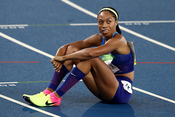 Allyson Felix after the women's 400 // Getty Images
