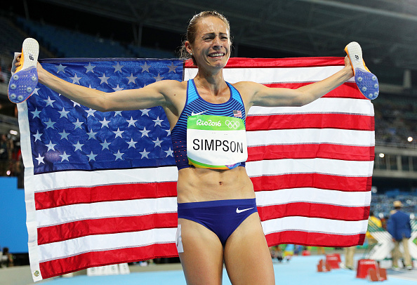 Jenny Simpson after taking third in the women's 1500, the first American ever to medal in the event // Getty Images