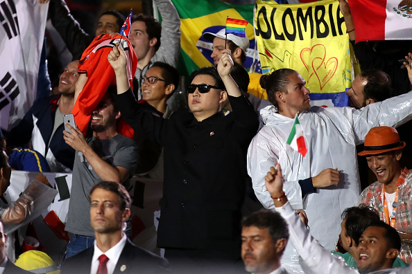 Kim Jong-un impersonator at the closing ceremony // Getty Images