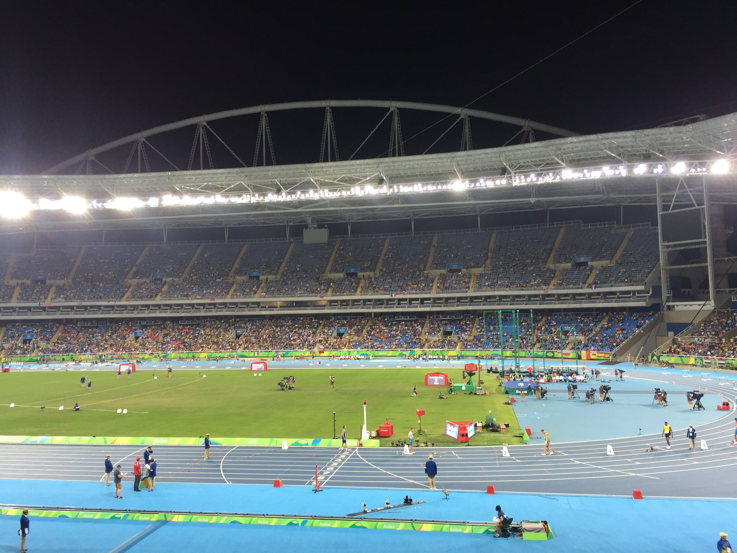 The 'crowd' in the stadium with just the women's 200 semifinals, women's 1500 final and men's 110 hurdle final to go