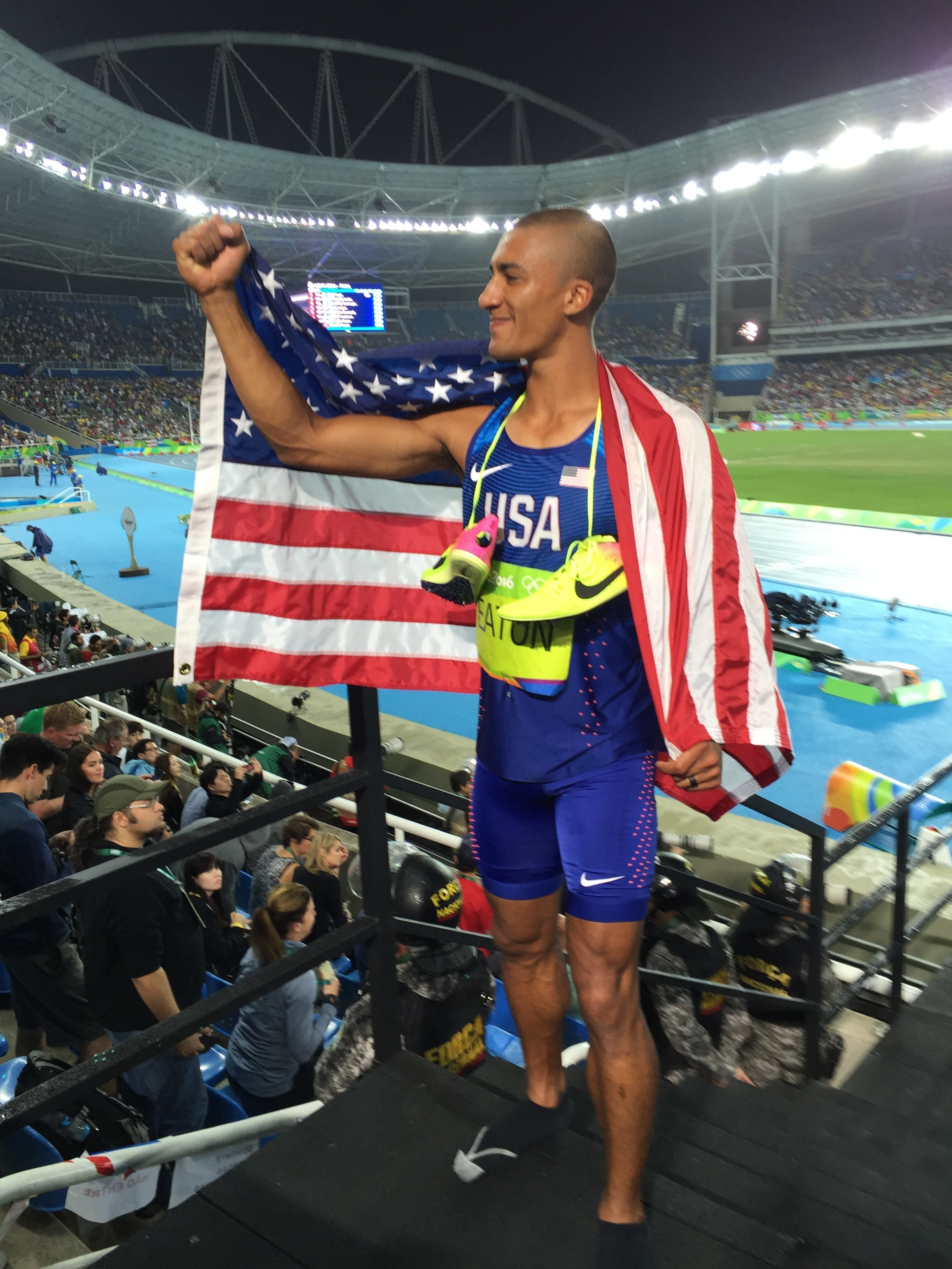 Ashton Eaton after the decathlon