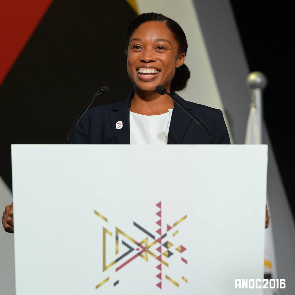 Allyson Felix at the lectern // ANOC and LA 24