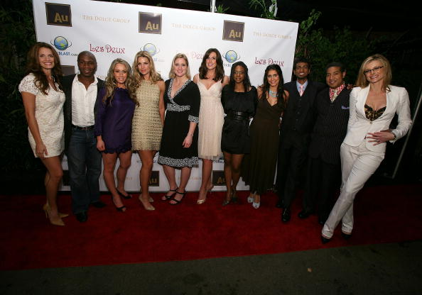 "Angela Ruggiero, center in black dress, at ""Apprentice"" cast party // Getty Images"