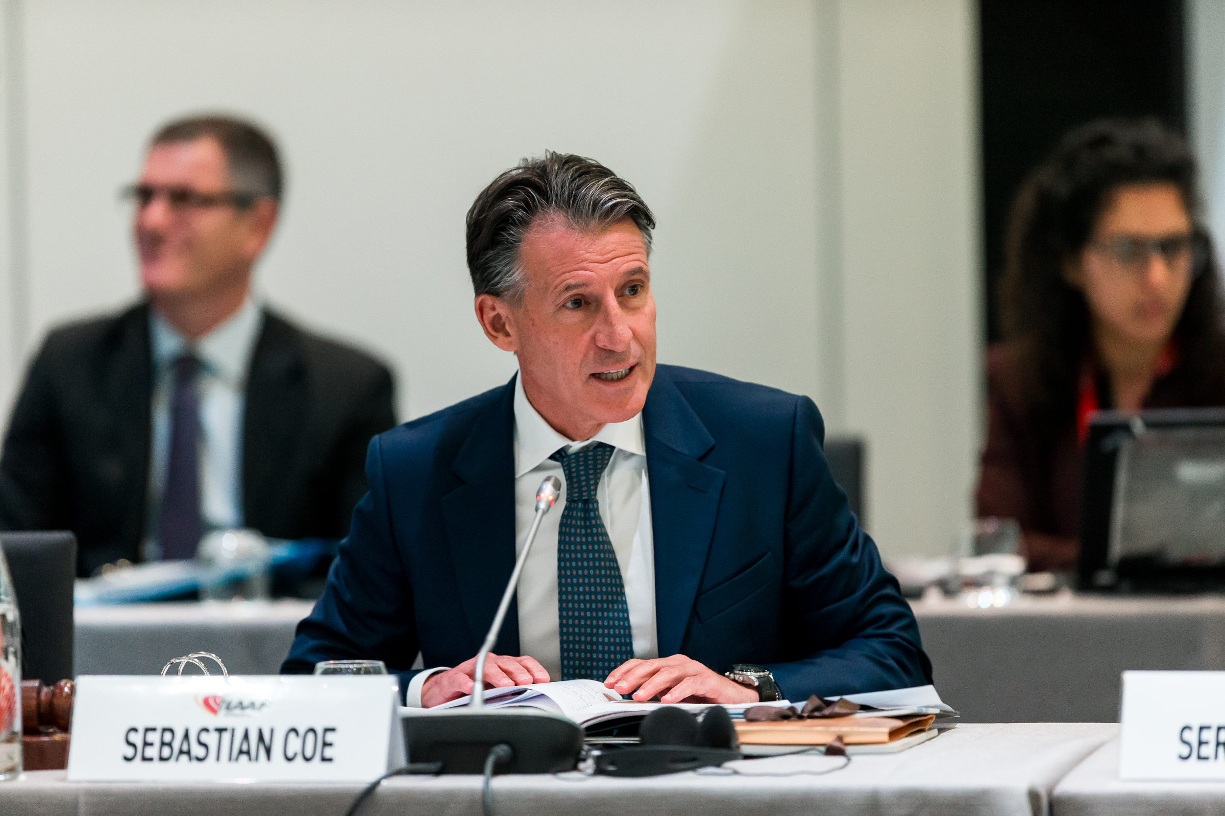 IAAF president Seb Coe amid this week's federation meetings // Getty Images for IAAF