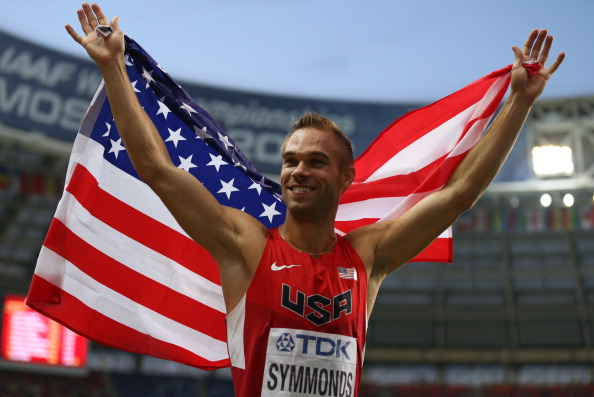 Nick Symmonds after taking silver in the men's 800 at the 2013 IAAF world championships in Moscow // Getty Images