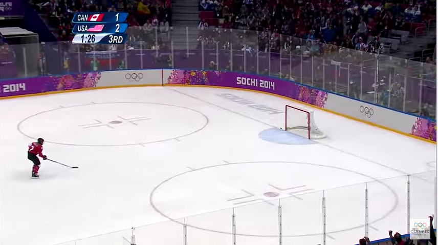 An inch of difference and perhaps this entire story, then and now, would be so very different // Olympic Channel screenshot from the Sochi 2014 women's hockey final