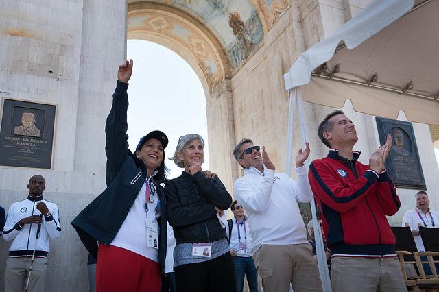 Left to right: Nawal el-Moutawakel, Joan Benoit Samuelson, Casey Wasserman, Eric Garcetti on Thursday inside the LA Memorial Coliseum // David Lienemann/LA24
