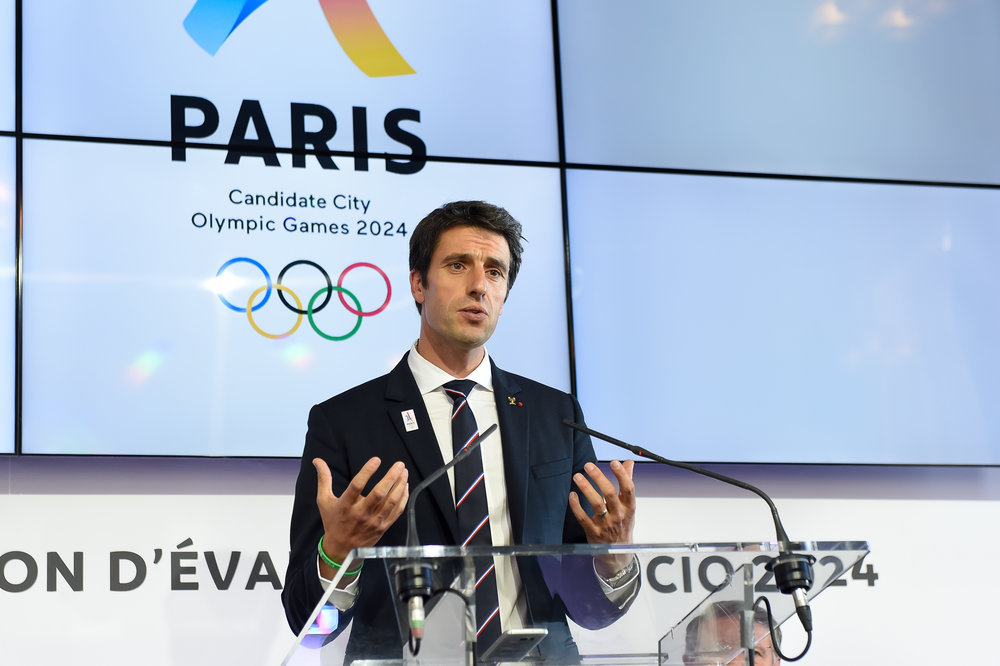 Tony Estanguet at Tuesday's news conference // Jean-Marie Hervio / KMSP / Paris 2024