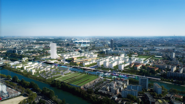 This doesn't exist: artist's rendition of Paris 2024 athlete village complex // Paris24