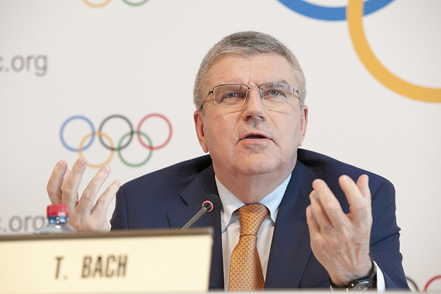 IOC president Thomas Bach at Friday's news conference // IOC
