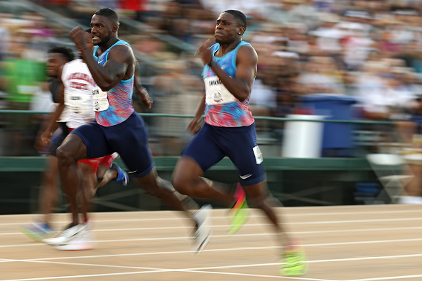Gatlin, center, defeating Christian Coleman, right, to win the U.S. outdoor championships 100-meter last Friday at Sacramento's Hornet Stadium // Getty Images