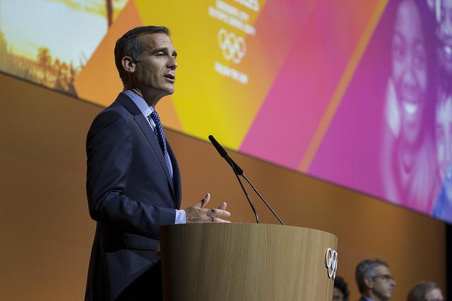 LA mayor Eric Garcetti at the IOC session // IOC