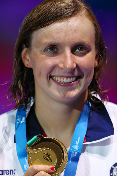Katie Ledecky on the medals stand after the 400 free // Getty Images