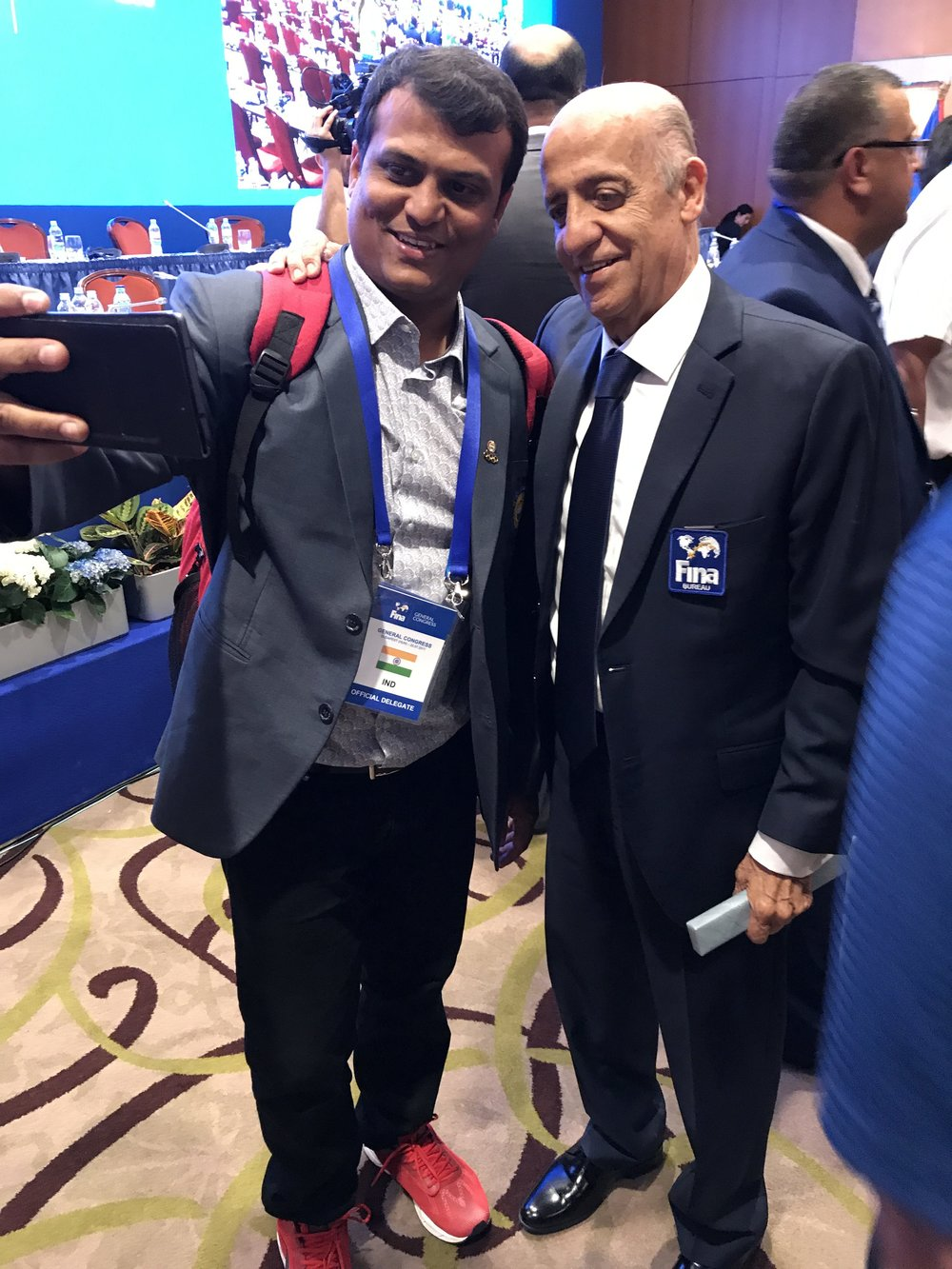 Selfie moment: FINA president Julio Maglione of Uruguay, right, with a delegate from India moments after Saturday's election