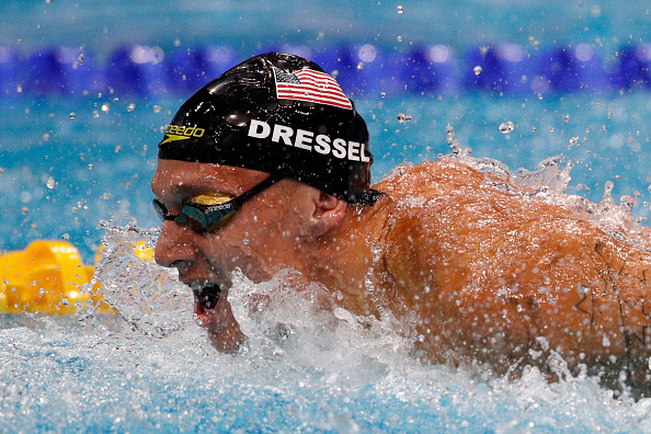 Caeleb Dressel in the water during the men's medley relay // Getty Images