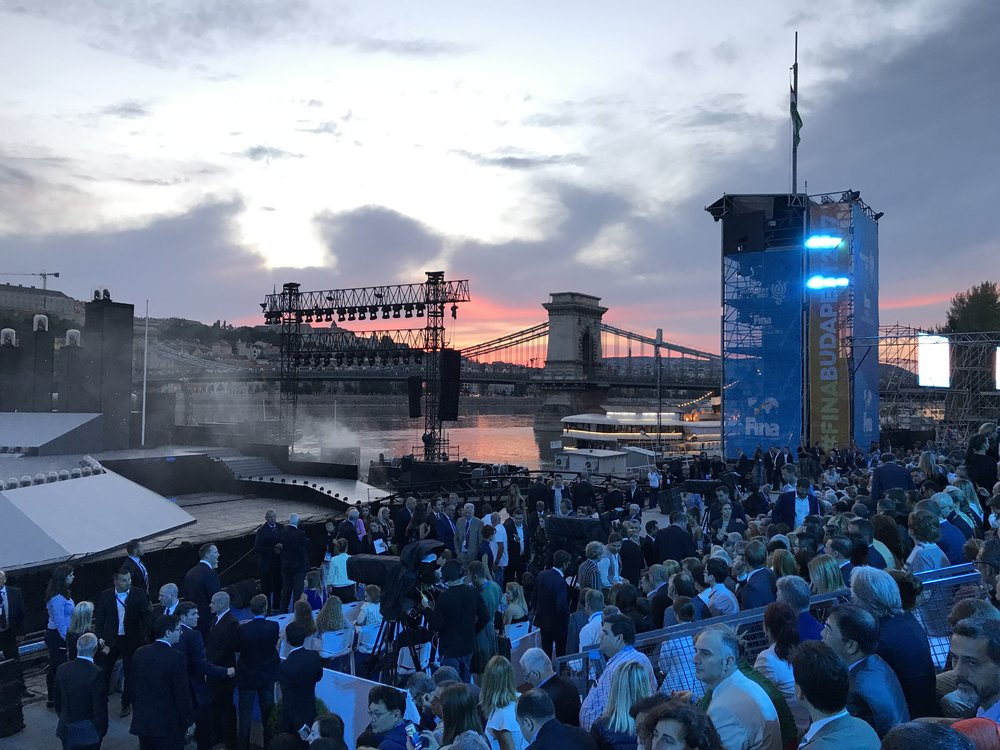 This was the scene along the Danube River that set the stage for the FINA 2017 opening ceremony