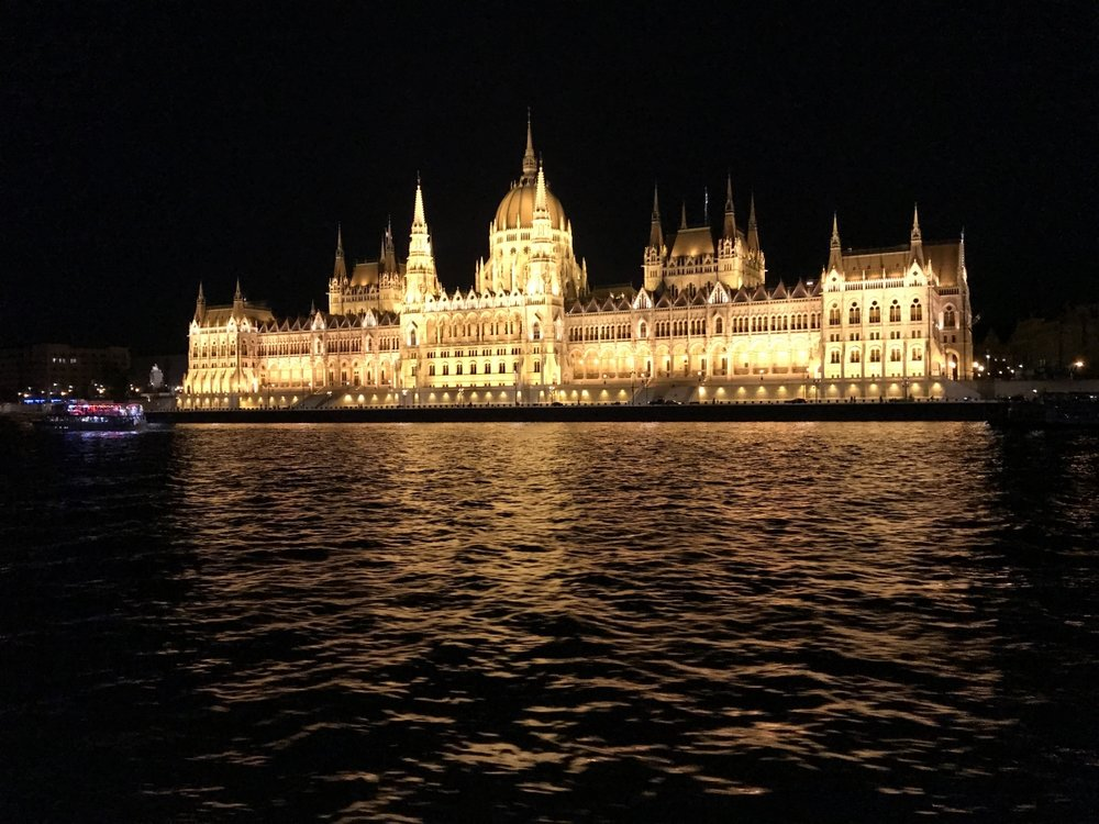 On the Danube, floating past the Parliament building