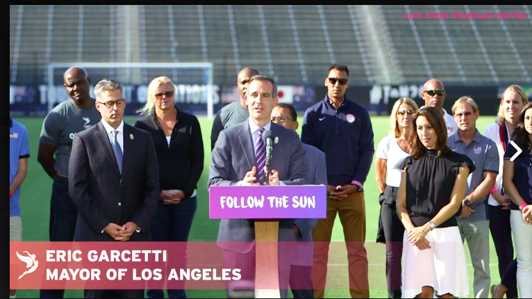 Mayor Eric Garcetti at LA news conference via Facebook Live