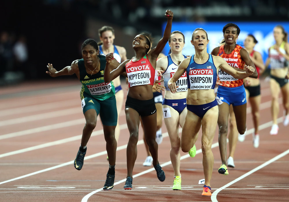 Jenny Simpson, right, at the finish line of the women's 1500 // Getty Images for IAAF