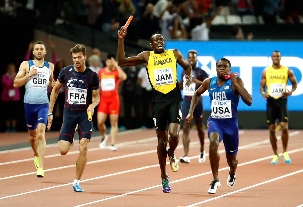 The moment Bolt pulls up // Getty Images for IAAF