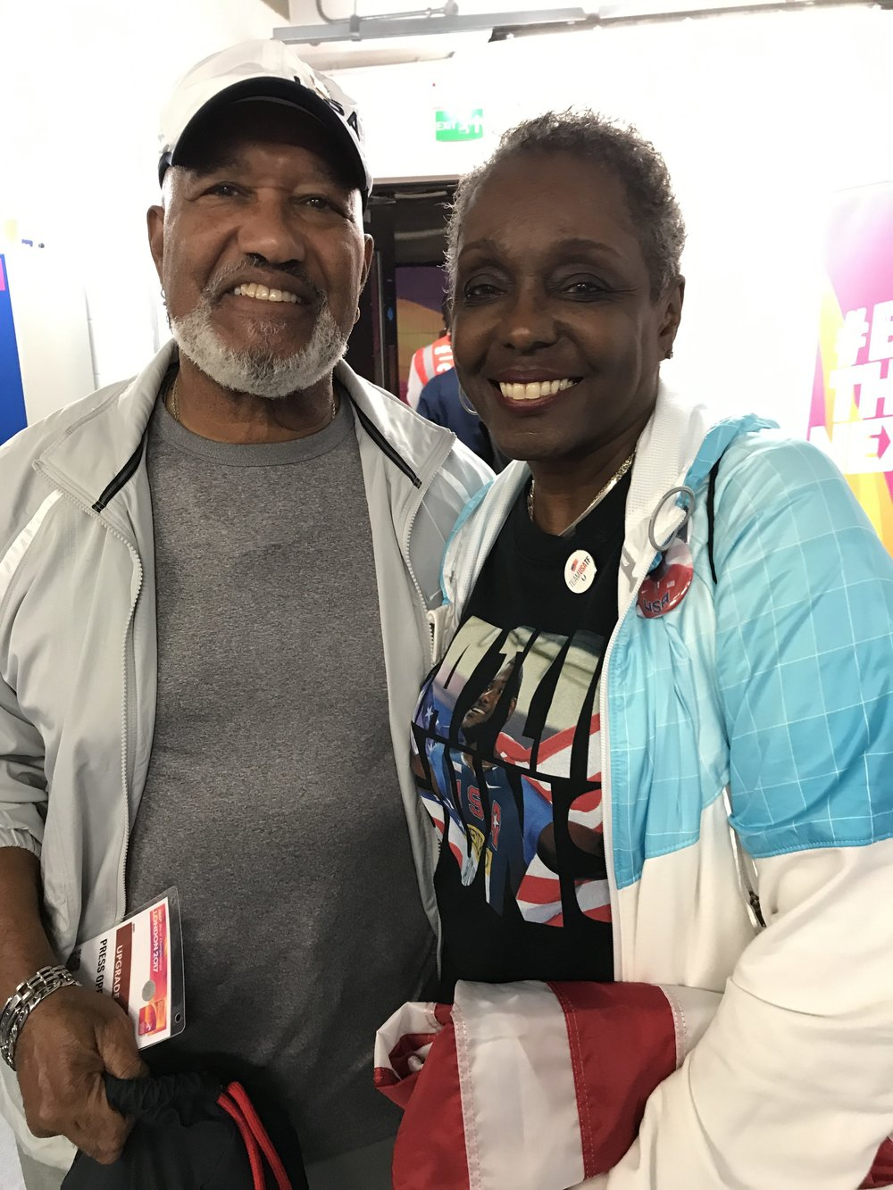 Justin Gatlin's parents, Willie and Jeanette, under Olympic Stadium late Saturday