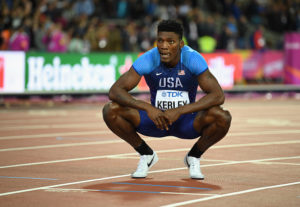 Fred Kerley after the 400 final // Getty Images