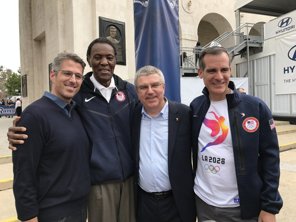 Casey Wasserman, Rafer Johnson, Thomas Bach, Eric Garcetti