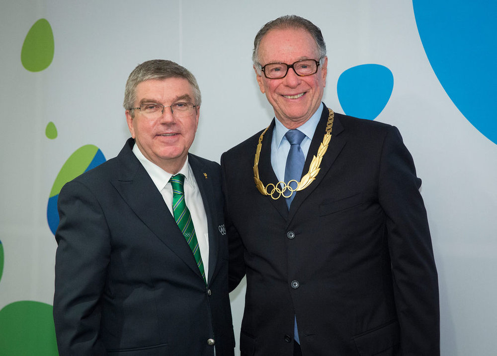 IOC president Thomas Bach with Rio 2016 chief organizer and Brazil Olympic Committee president Carlos Nuzman at the post-closing ceremony breakfast // IOC