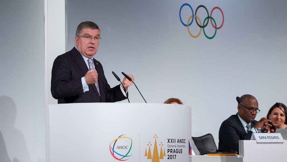 IOC president Thomas Bach at the ANOC assembly in Prague // IOC