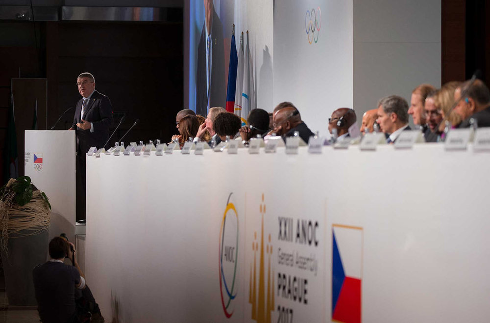 Bach at the lectern // IOC