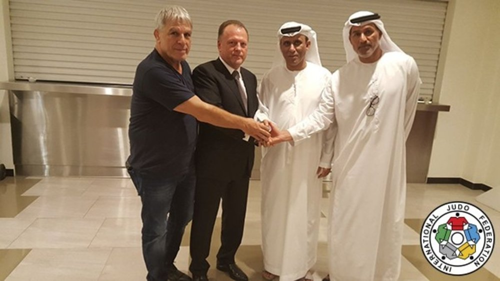 Also wrapping up the Abu Dhabi Grand Slam: Israeli Judo Assn. president Moshe Ponte; IJF president Marius Vizer; Al Darei; Naser Al-Tameemi, UAE Judo, Wrestling, and Kickboxing General Secretary // IJF