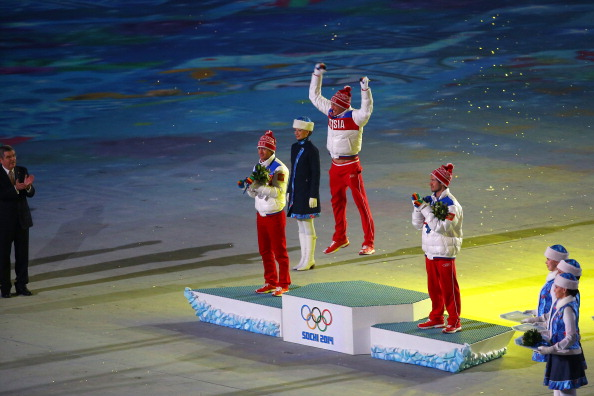 Alexander Legkov atop the podium at the Sochi Games // Getty Images