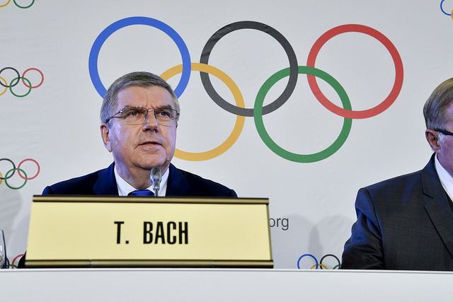 IOC president Thomas Bach at Tuesday's news conference // IOC via Flickr