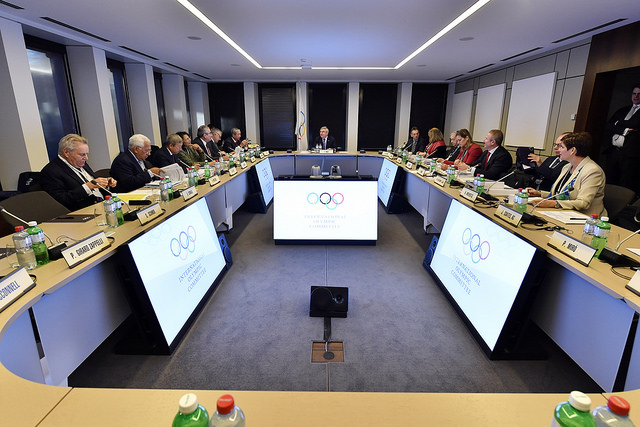 The IOC executive board at Tuesday's meeting // IOC via Flickr