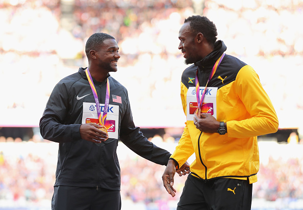Justin Gatlin and Usain Bolt at the 2017 IAAF world championships in London // Getty Images