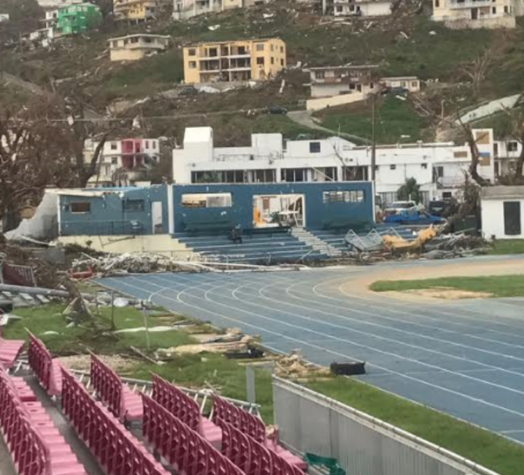 Post-storm: surveying the damage at the track at the British Virgin Islands // IAAF