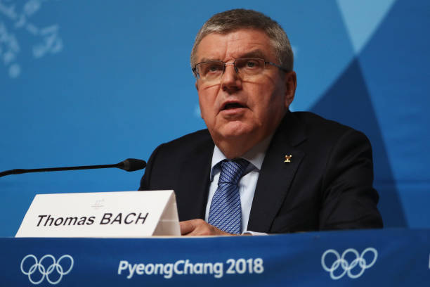 IOC president Thomas Bach at Sunday's news conference at the Alpensia ski resort in PyeongChang, South Korea // Getty Images