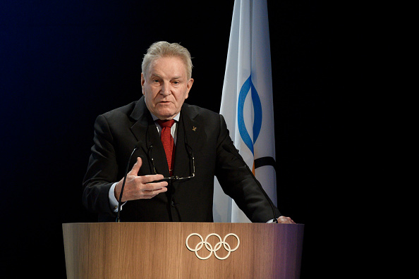 Denis Oswald, the Swiss lawyer who headed the IOC's investigatory commission into the Russian doping matter, giving his report Tuesday to the IOC session // Getty Images