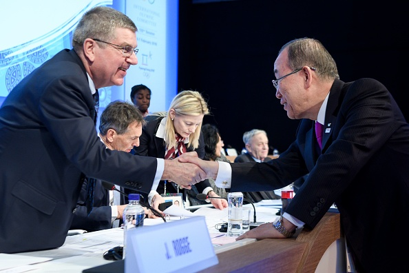 IOC president and Ban Ki-Moon, the former UN secretary-general who is now IOC ethics committee chair // Getty Images