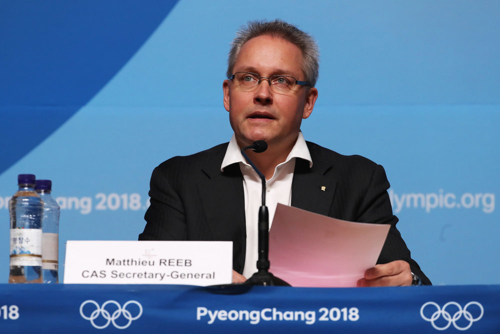 Matthieu Reeb, the CAS secretary-general, meets the press in PyeongChang // Getty Images